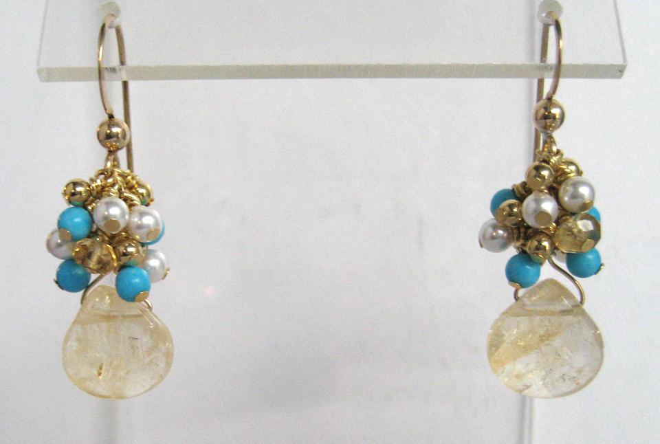 Citrine Turquoise Pearl Cluster Earrings_IMG_5486